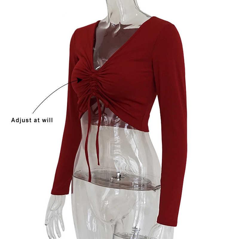 Forefair, v-образный вырез, сексуальные топы с длинным рукавом, женские осенние Топы с рюшами, на шнуровке, Повседневная футболка, черные зимние рубашки для женщин 2018