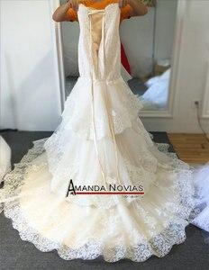 Image 4 - 高品質新しいファッションレースマーメイドシャンパンとアイボリーウェディングドレスオフショルダー花嫁衣装カスタムサイズ