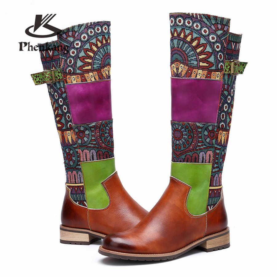 Kadın kışlık Botlar Hakiki inek Deri Rahat kaliteli yumuşak ayakkabı el yapımı Bohemian sıcak uzun çizmeler diz çizme 2019