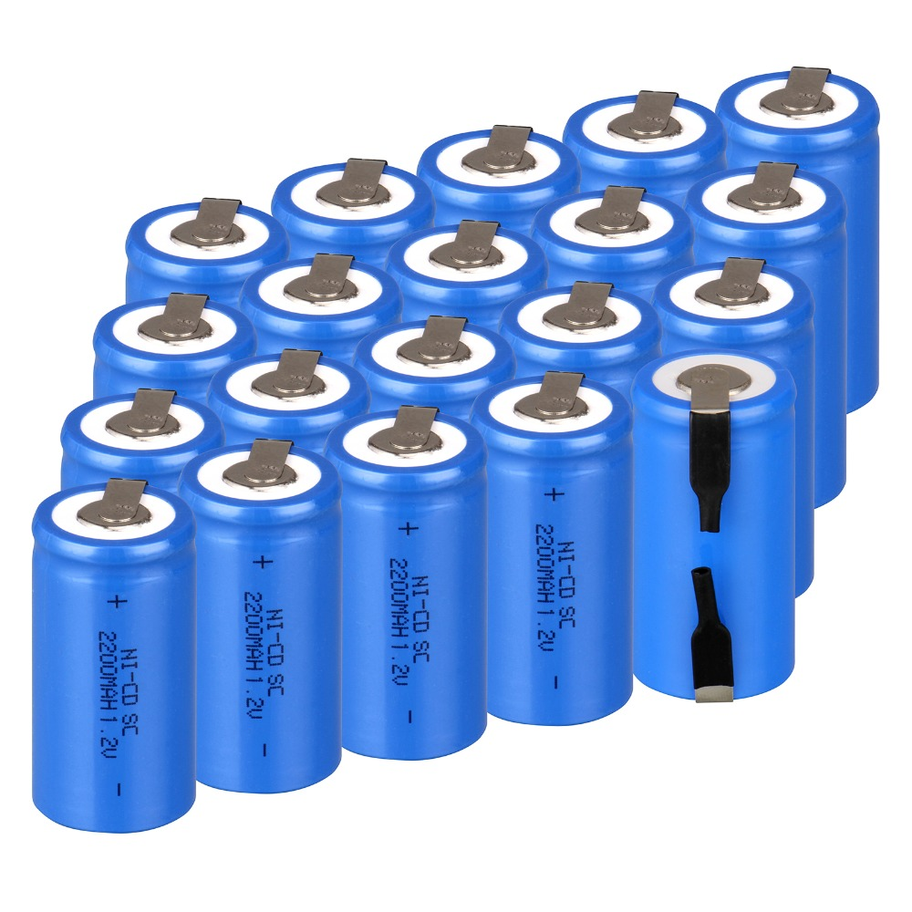 High quality ! 24 PCS Sub C SC battery rechargeable battery 1.2V 2200mAh Ni-Cd Ni-Cd Battery Blue Batteries -4.25*2.2cm