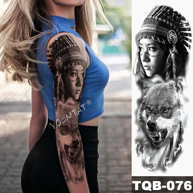 Gran manga de tatuaje para brazo Leopardo de medianoche belleza chica impermeable tatuaje temporal pegatina Luz de luna Rosa Full Skull tatuo mujeres 5