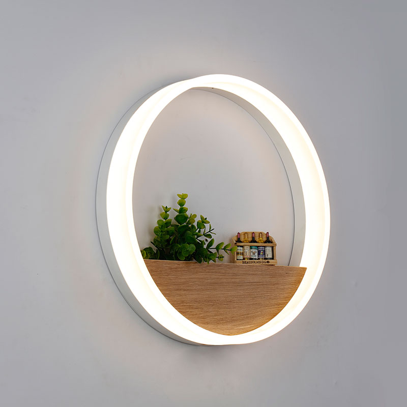 Simple Modern Minimalist Geometric Circular Round Acryl Wood Led Wall Lamp For Living Room Bedroom Aisle Dia 20/40cm 1900 modern minimalist 9w led acrylic circular wall lights white living room bedroom bedside aisle creative ceiling lamp