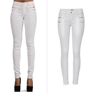 Image 1 - SupSindy אופנה נשים עור מפוצל מכנסיים נמוך מותן רוכסן לבן חותלות Wild slim מכנסיים סקיני עור מכנסיים לנשים מכנסיים