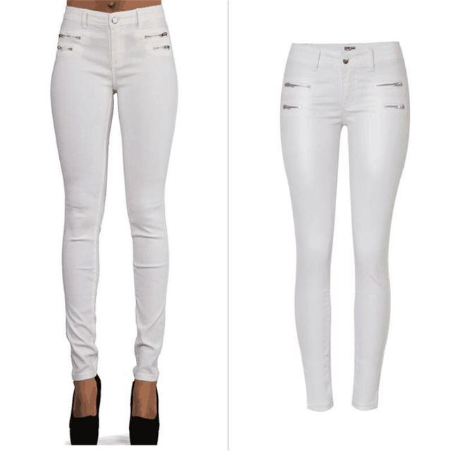 SupSindy אופנה נשים עור מפוצל מכנסיים נמוך מותן רוכסן לבן חותלות Wild slim מכנסיים סקיני עור מכנסיים לנשים מכנסיים
