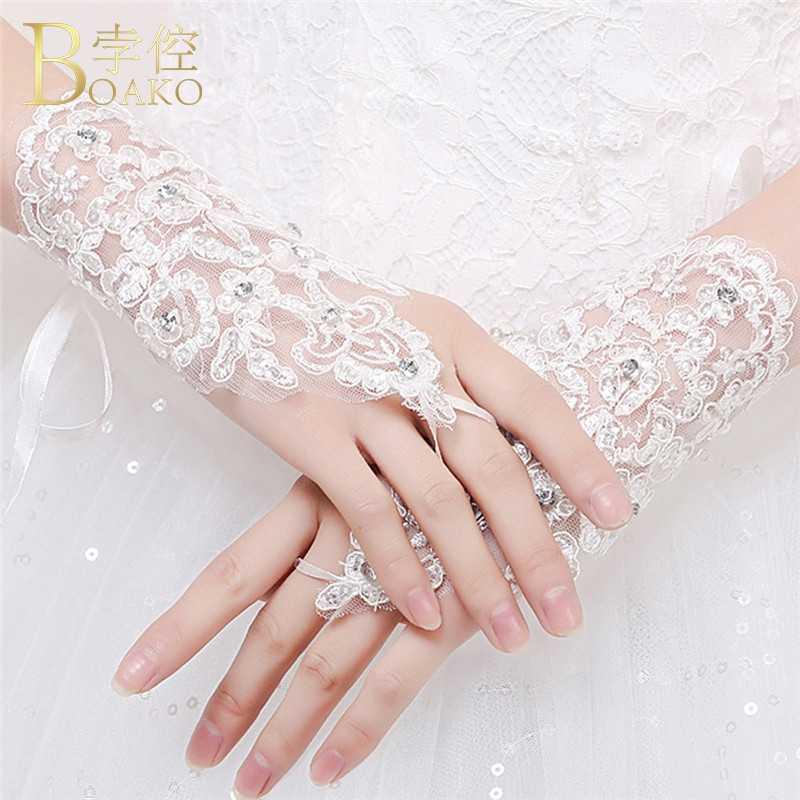 BOAKO Bruiloft Handschoenen Witte Bruids Handschoenen Vingerloze Kant Dames guantes de novia meisje Sequin korte luvas Bruiloft Accessoires K5