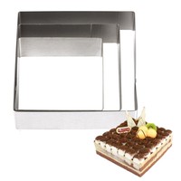 Bakeware Tool New 5 6 7 inches 3D DIY Square Shape Stainless Steel Mousse Ring Cake Mold Circle Mould