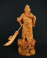 Boxwood Carvings Historical Figure Wu Sheng Guan Yu Office Supplies Root Carving Home Decoration Wood Ornaments