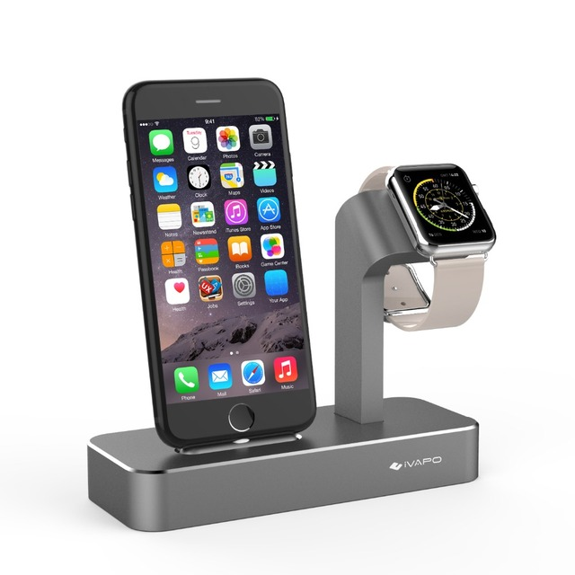 new styles 15618 09de5 US $21.55 |Aluminum Charger Dock Station For Apple Watch iPhone 2 IN 1  Holder For iPhone X 7/8 Plus 6s Plus 5s Stand Solid For Apple Watch-in  Mobile ...