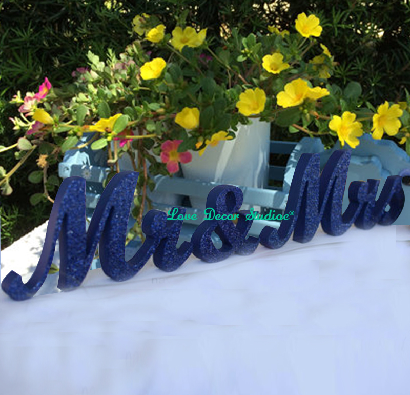 Navy Blue Mr & Mrs Glitter Sign- Wedding Decoration- Mr And Mrs Signs For Sweetheart Table