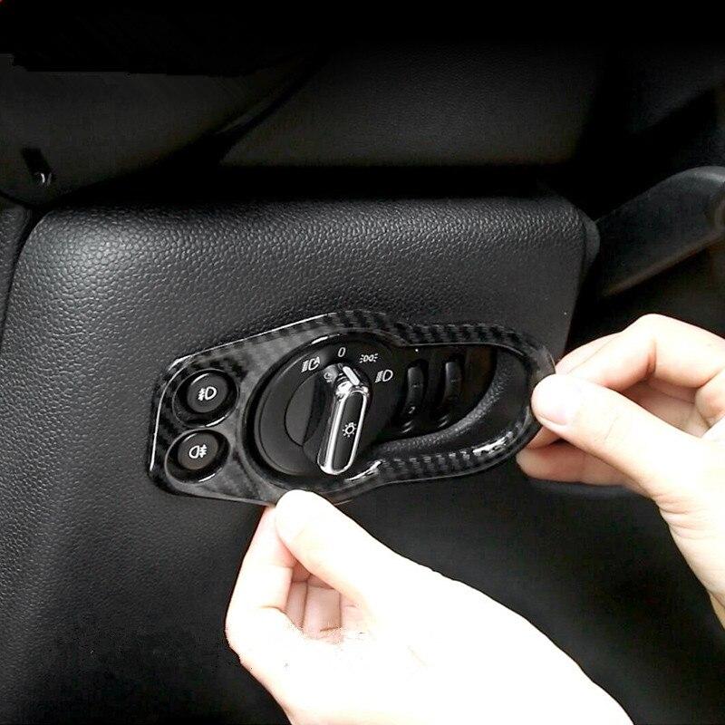 Autocollant de style de Fiber de carbone de revêtement d'habillage de cadre de panneau de commutateur de phare de voiture d'abs pour Mini Cooper F55 F56 2015 2016 2017 2018