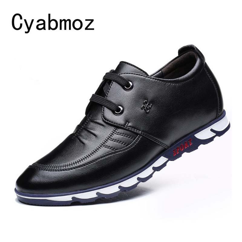 US $39.6 10% OFF|Cyabmoz Newest Fashion Leather Casual Shoes Height Increasing Elevated Shoes with Hidden Heels Man Taller 6CM Invisibly Oxfords in
