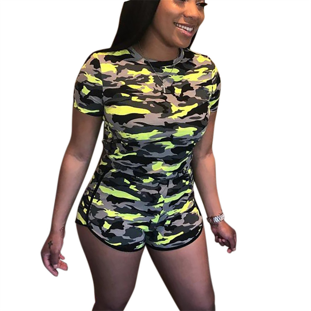 Spring Summer Women Two Piece Set Top And Pants Plus Size Outfits Tracksuit Sweatsuit Outfit Camouflage Print Active Sets