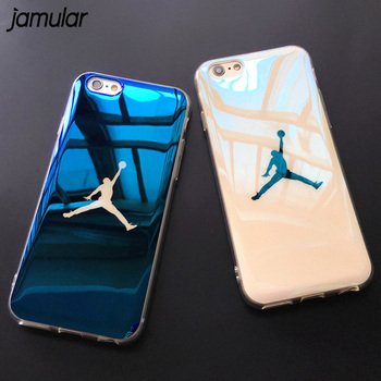 JAMULAR Flyman Jordan Case Cover for iPhone 7 6 6s Sport Blue-ray Soft Rubber Case for iphone X 8 7 Plus Protective Funda Coque