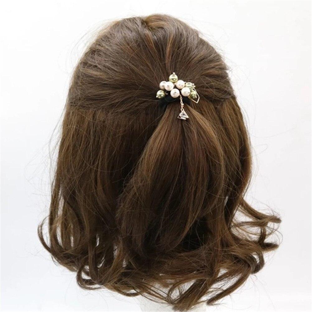 Fashion Pearl Grape Elastic Rubber Hair Bands Bunch Scrunchy Triangle Zircon Pendant Hair Accessories