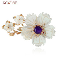KCALOE Big Shell Flower Women Brooches With Natural Stone Scarf Pins Accessories Gold Color Bouquet Wedding