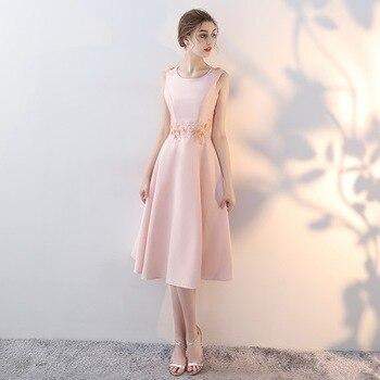 Mingli Tengda Sukienki Damskie Na Wesele Bridesmaid Dresses Pink Satin Dress Appliques Lace Wedding Party Dress Tea-Length Dress