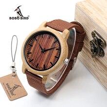 BOBO OISEAU WD10 Mens De Luxe Top Brand Design Montre Hommes Bracelets en bois Designer Montres De Luxe Bambou Montre Cadeau Boîte Accepter OEM