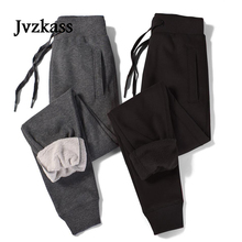 Jvzkass plus velvet thickening sports pants female 2018 winter new casual trousers thick section cotton large size Z285