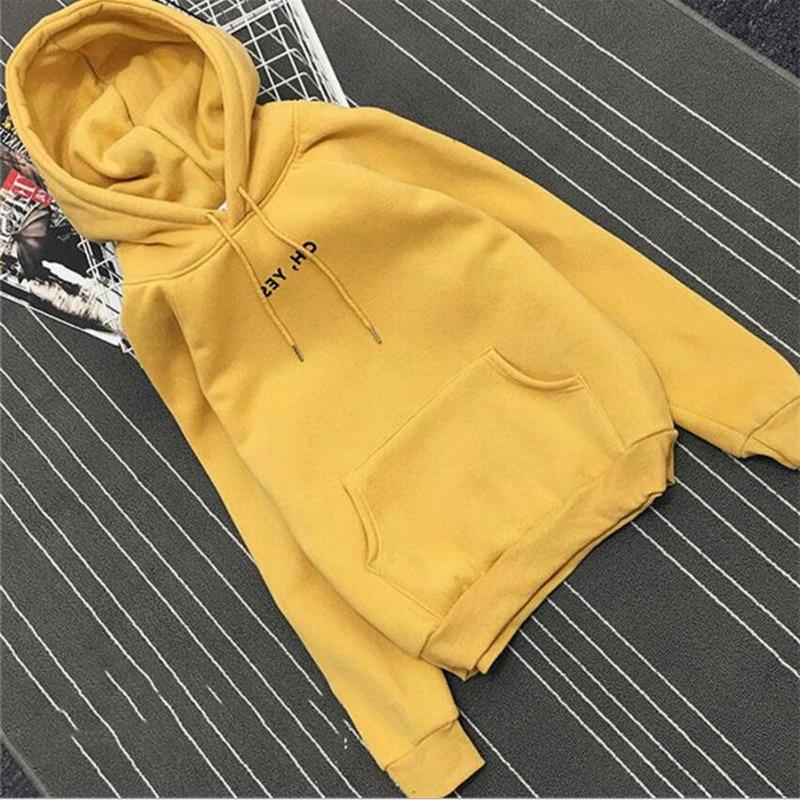 New fashion long-sleeved corduroy letter Harajuku printing yellow girl P Ullovers blouse O collar shirt H Oodies shirt kawaii