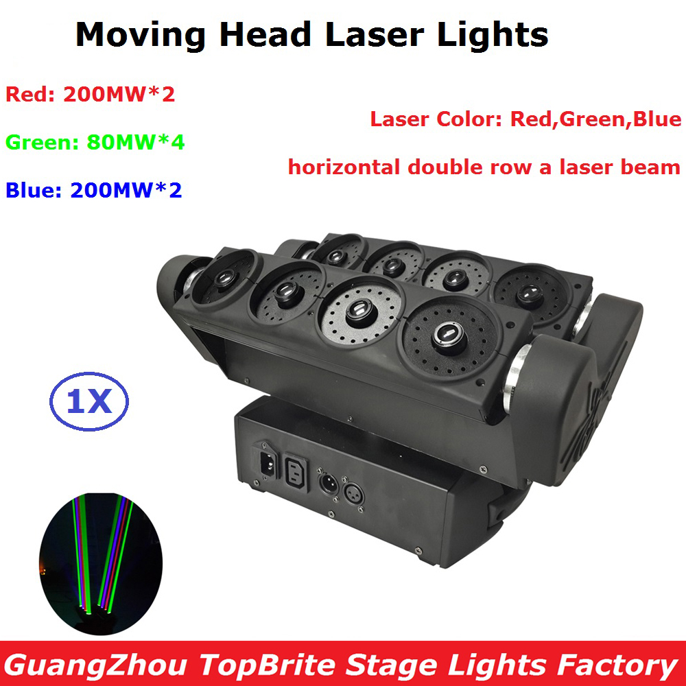 Fast Ship 8 Eyes Beam Laser Lights 1120mw RGB Full Color Spider Moving Head Laser Lights 90-220V Home Entertainment Projector laser head owx8060 owy8075 onp8170