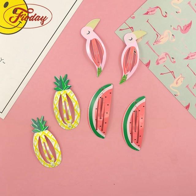 e3debcd48 6pcs/set Cute Girls Handmade Character Snap Hair Clip Fruit Shape Printing Hair  Clips Fruit Barrettes Girl Accessories A10D15