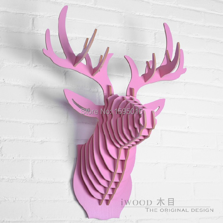 3D Home decoration,deer head of DIY wooden crafts,animal head wall ...
