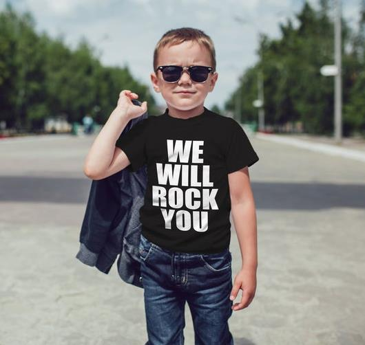 We Will Rock You Print Kids Tshirt Boy Girl T Shirt For Children Toddler Clothes Funny Tumblr Top Tees Drop Ship CZ-2