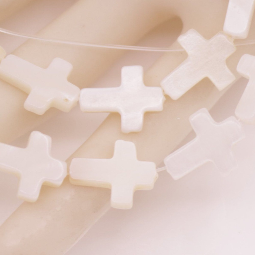 "Купить с кэшбэком Cross Shell 12mmX15mm White Mother of  Pearl Loose Beads Strand 15"" Jewelry Making"