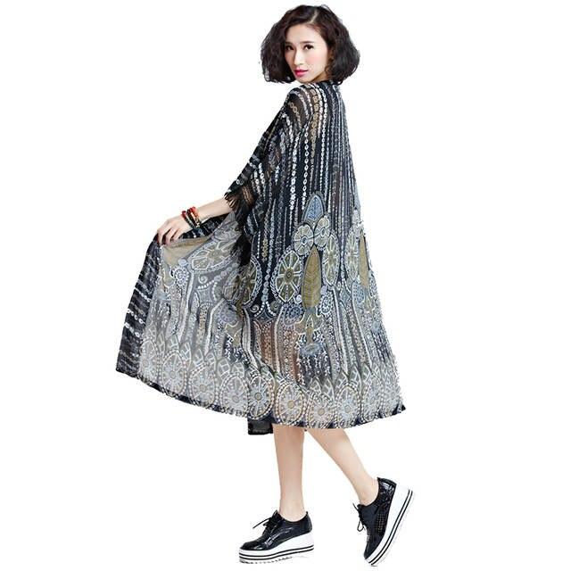 9d64f1700e46 € 15.63 49% de DESCUENTO|Oladivi Plus tamaño mujeres Blusas camiseta Tops  Cardigan Kimono Blusas playa fina ropa de verano 2018 sol protección ...
