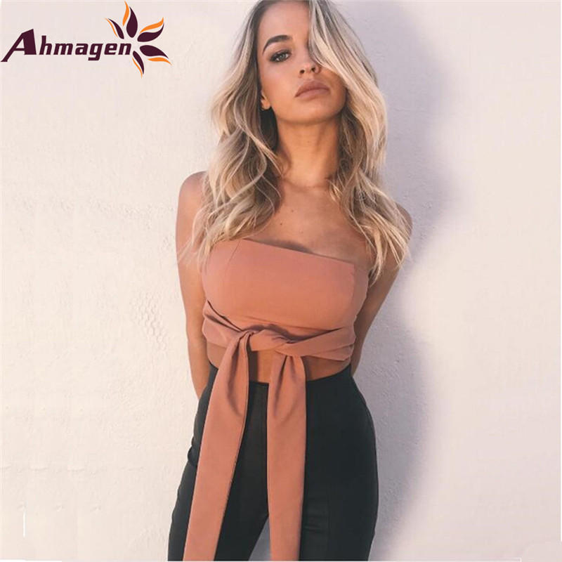 5435e95215a Ahmagen Belt Lace Up Camisole Tube Top Women Summer Bow Tie Crop Top Sexy  Backless Tank Tops Sleeveless Club Party Strapless Top