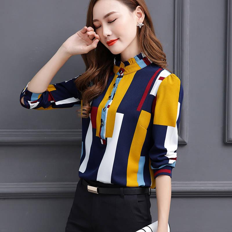 Blouse Women Fashion Long Sleeve Stand Collar Office Shirt Chiffon Blouse