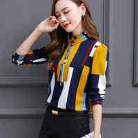 Bluse Frauen Mode Langarm Stehen Kragen Büro Hemd Chiffon Bluse Shirt Casual Tops Plus Größe blusas mujer de moda 2019