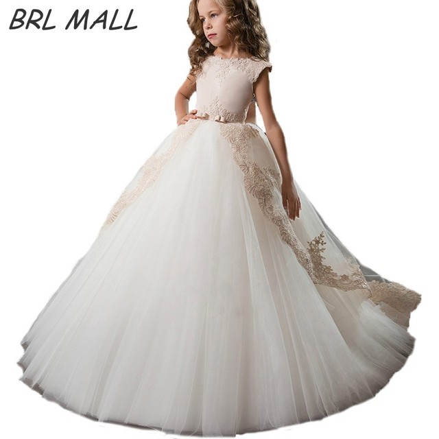 Hot Sale Gold Lace Appliques flower girl dresses ball gown with bow kids  evening gown first communion dresses for girls 44909585662c