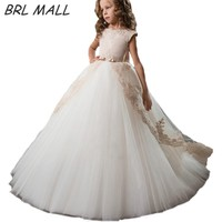 Hot Sale Gold Lace Appliques Flower Girl Dresses Ball Gown With Bow Kids Evening Gown First