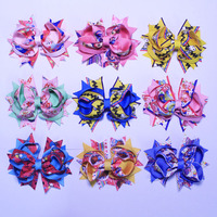 Wholesale 100pcs Baby Girls Toddler 4inch Cartoon Grosgrain Ribbon Colorful Hair Bows Clips 2802B 38 Y