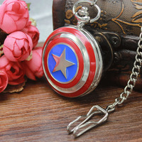 Modern Fashion Silver Captain American Star Theme Pocket Watch With Necklace Chain Cool Gift Women Men Children Relogio De Bolso