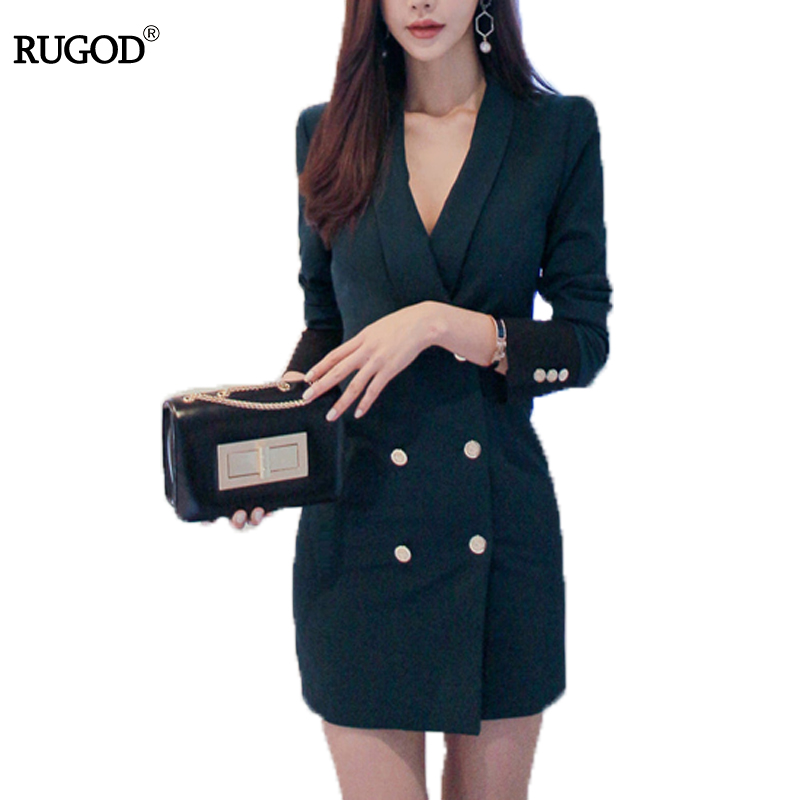Rugod Slim Women Atrovirens Blazer Female Notched Collar Double Breasted Long Sleeve OL Work Design Coat Outwear Blazer Feminino