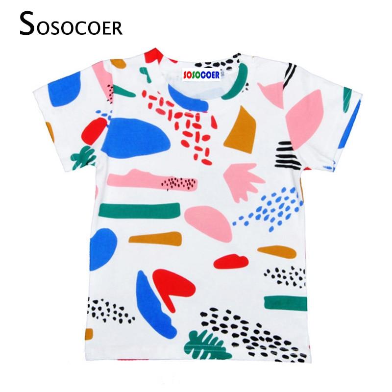 SOSOCOER Cartoon Graffiti Boys Girls T-shirt Nou 2017 Summer Baby - Haine copii