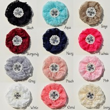 120pcs/lot 9cm 12color Newborn Lace Beaded Chiffon Flower With Pearl Rhinestone Shabby Lace Ruffled Fabric Flowers For Headbands
