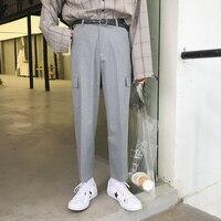 Men Loose Casual Black Gray Cargo Pant Streetwear Fashion Hip Hop Straight Pants Suit Trouser