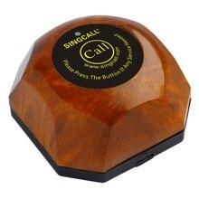 Беспроводная кнопка вызова в ресторане SINGCALL, система вызова официанта, со съемной водонепроницаемой основой APE560, цвет древесины