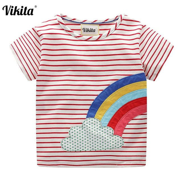 90f38e66 VIKITA Summer Children Girls T-shirts 2019 Kids Cotton Short Sleeve Tees  Casual Cartoon Tshirts for Girls Students Tops