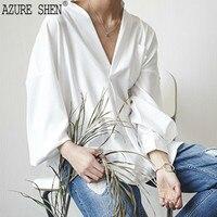 AZURE SHEN Spring Summer 2018 Hot Sale New Style Black White Big V Collar Loose