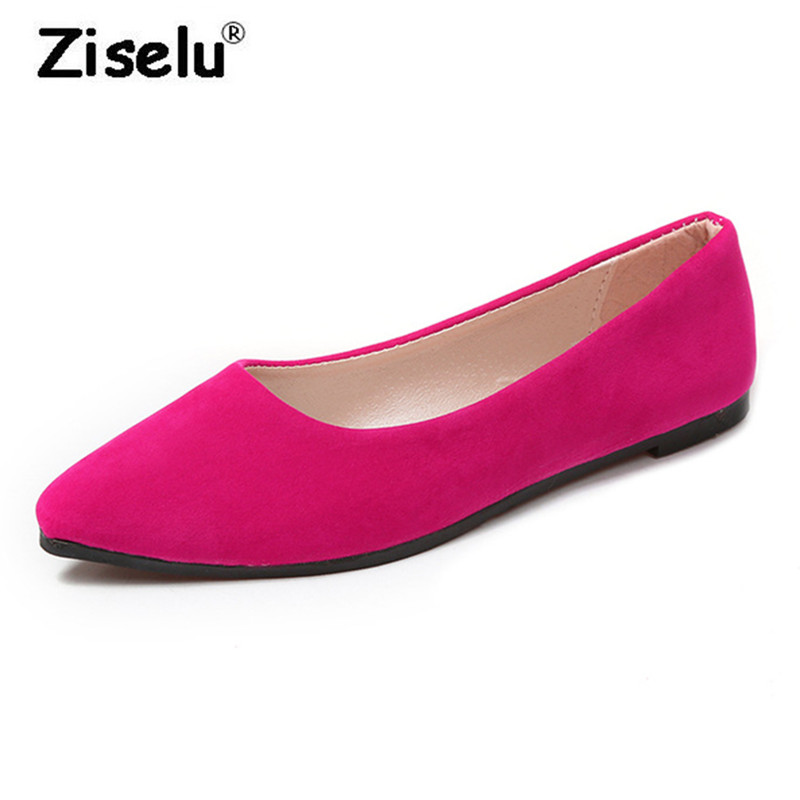 2018 Summer New Arrived Suede Pointed Toe Office Lady Flats Shallow Slip on Comfortable Boat Shoes Fashion Students Casual Shoes krazing pot empty after shallow shoes woman lace work flats pointed toe slip on sheep suede causal summer outside slippers l16