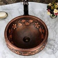 vintage handmade basin fashion Copper classical full bronze basin wash basin counter basin
