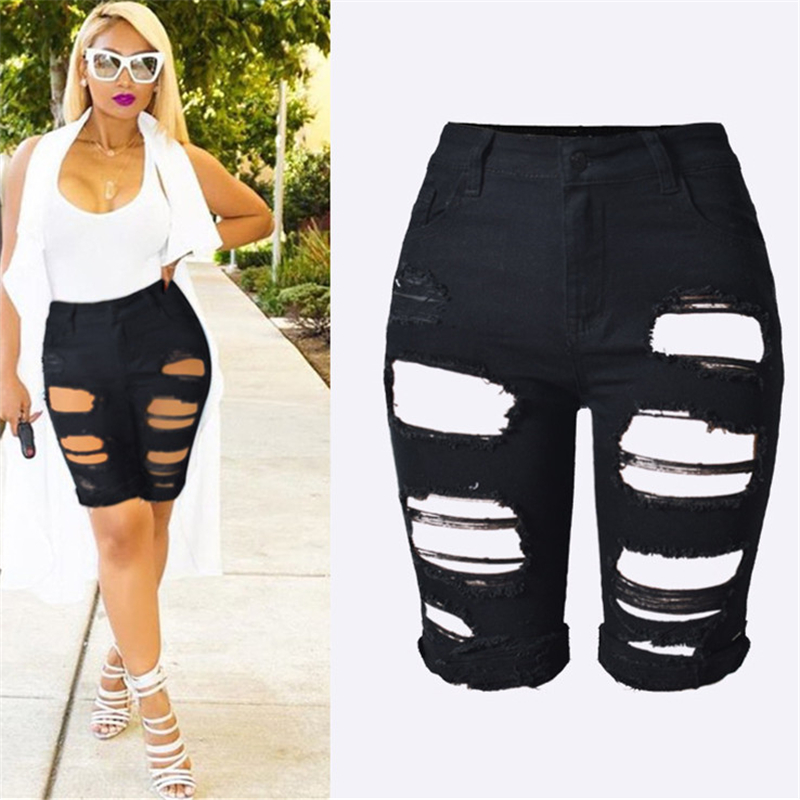 571c781b6737b S XXXL 2017 Summer New Slim Skinny Ripped Hole Burrs Cut Off High Waist Knee  Length Women Denim Hot Shorts Jeans Plus Size-in Jeans from Women s  Clothing on ...