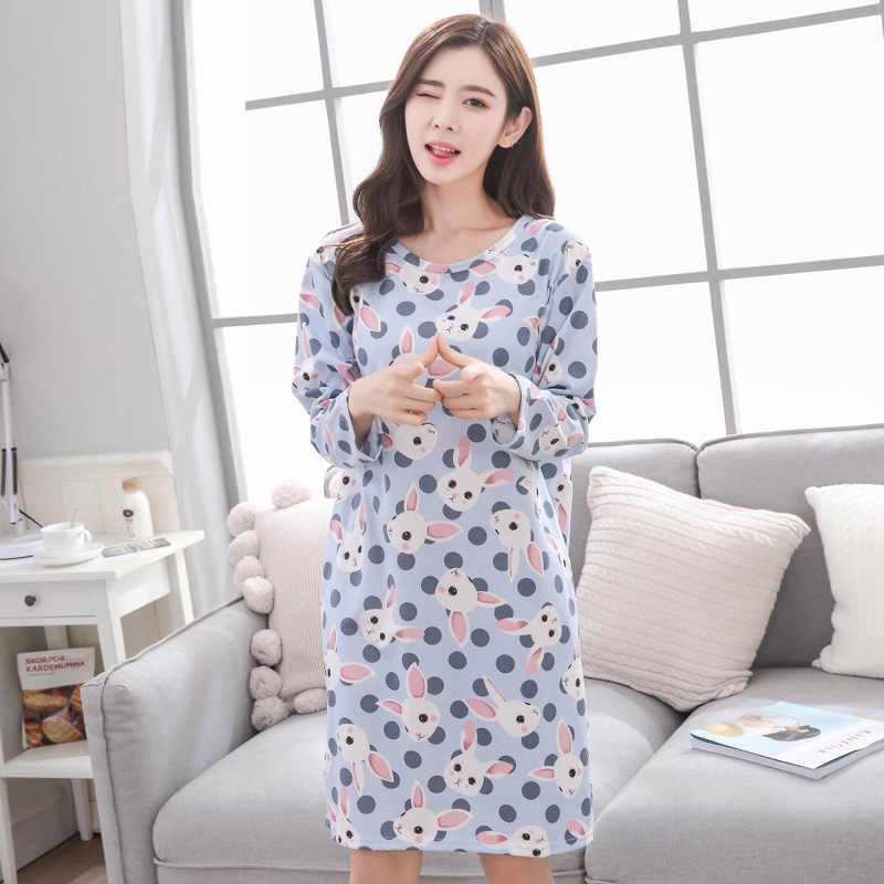 ... Yidanna women nightwear 2018 plus size Nightgown female sleepshirt milk  silk sleepwear sleep clothing autumn long ... 4a6ff8251