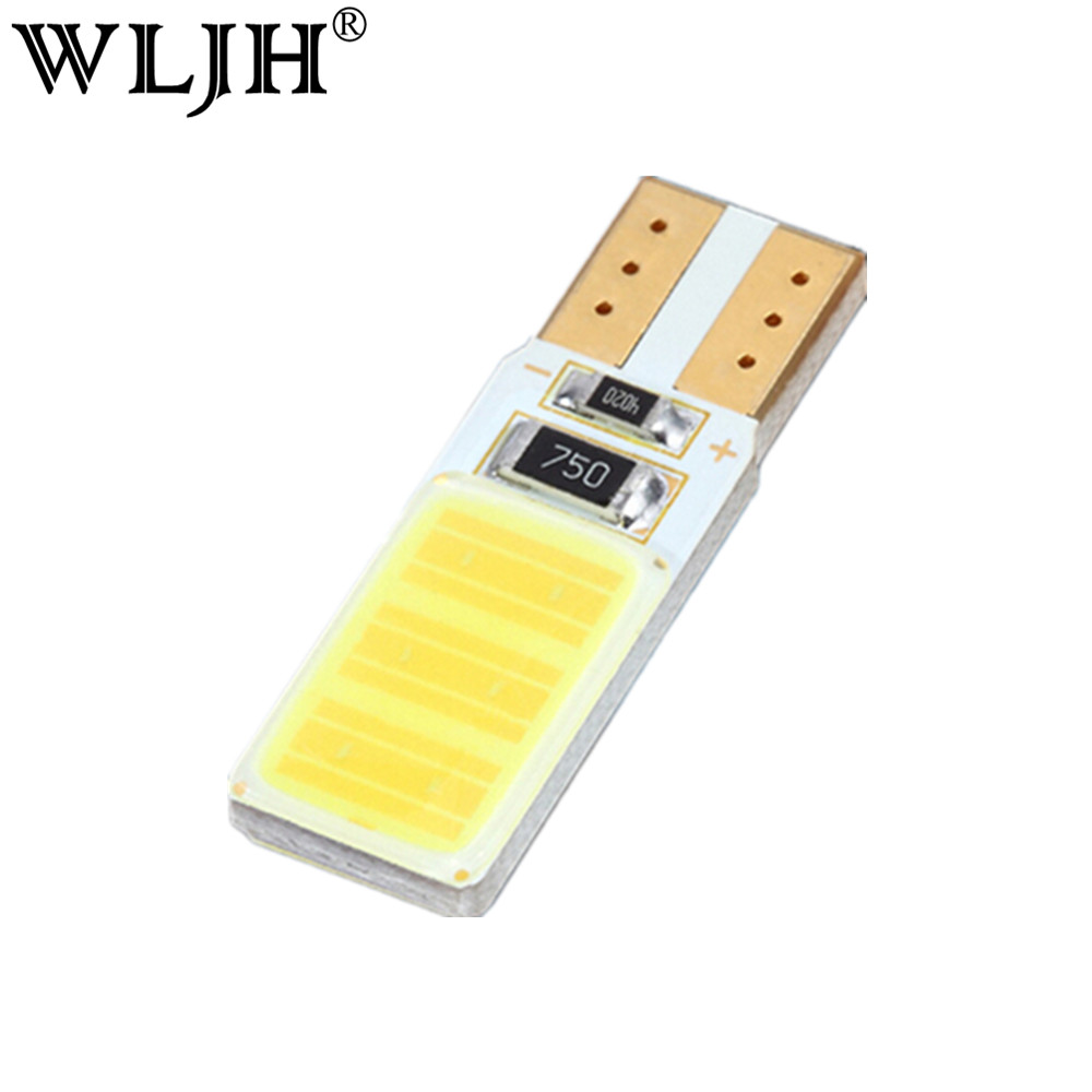 WLJH 1x Canbus COB T10 Led No Error W5W Led Auto Parking Light Interior License Plate Sidemarker Bulb White Blue Led Car Light 2pcs lot 24 smd car led license plate light lamp error free canbus function white 6000k for bmw e39 e60 e61 e70 e82 e90 e92