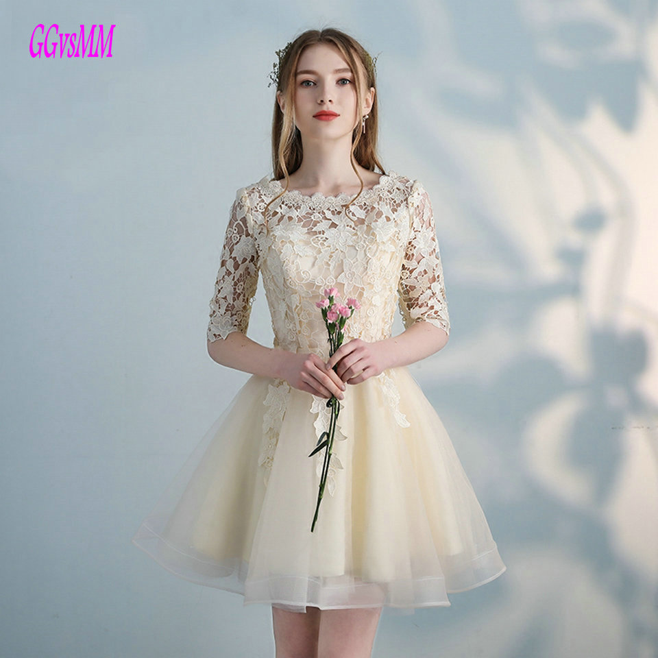 Fashion Beige Prom Dresses Short 2019 Sexy Black Prom ...