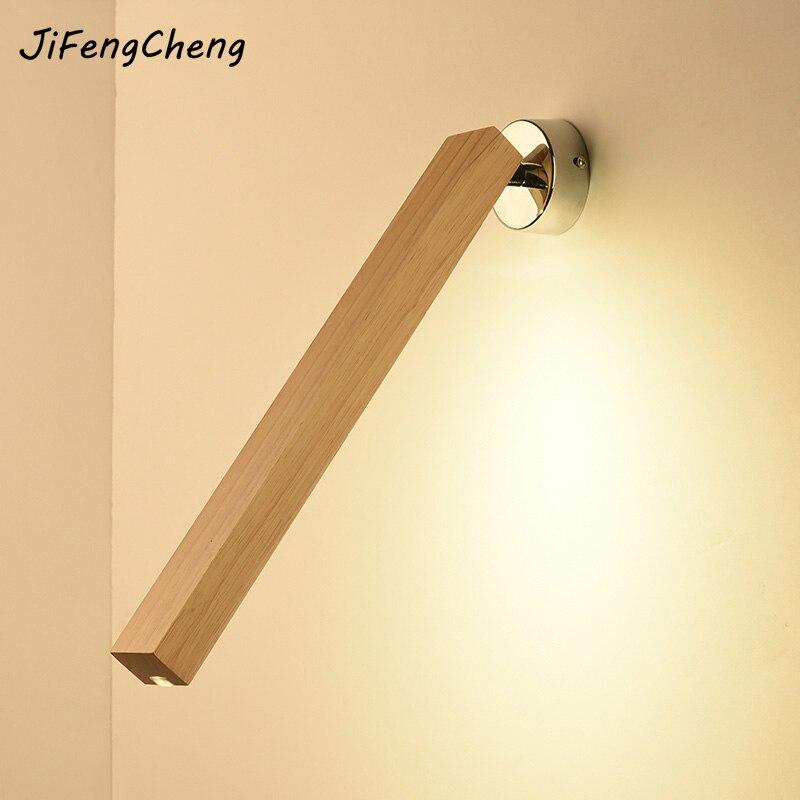 Jifengcheng Творческий бра 220 В современный минималистский LED Спальня ночники Nordic Деревянный Настольная лампа длинный деревянный настенный свет...